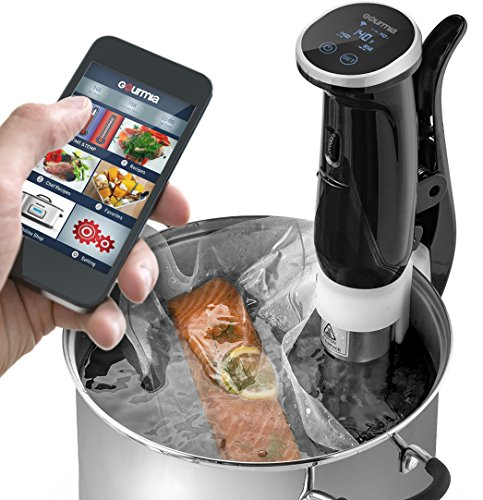 Gourmia WiFi Sous Vide Precision Cooker Immersion Pod, 1200W Powerful & Accurate, App Controlled, With LED Display Includes Cookbook