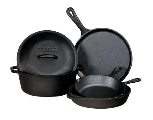 Lodge L5HS3 5 Piece Pre Seasoned Cast Iron Cookware Set
