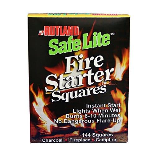 Rutland Safe Lite Fire Starter Squares, 144 Square