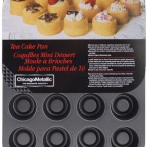 Chicago Metallic Tea Cake Pan 20 Cavity, 13.90 Inch By 10.60 Inch (2 Inch By 1.60 Inch Cavities)