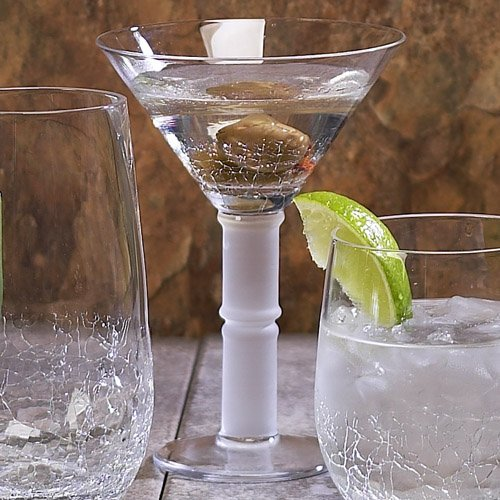 Impulse Crackle Martini Hand Crafted Glass, Clear, Set Of 4