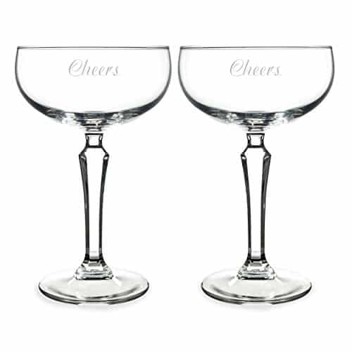 Cathy's Concepts Cheers Champagne Coupe Toasting Flutes, Clear, Set Of 2