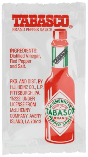 Tabasco Pepper Sauce, 0.11 Ounce Single Serve Packages (Pack Of 200)