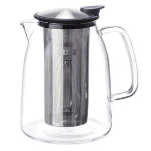 FORLIFE Mist Iced Tea Jug With Basket Infuser, Black Graphite