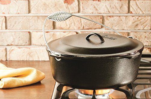 Lodge L12DO3 Cast Iron Dutch Oven With Iron Cover, Pre Seasoned, 9 Quart
