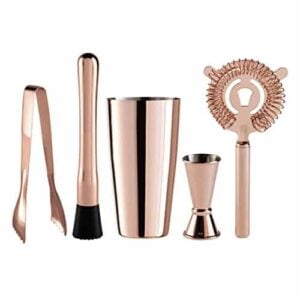 Oggi 5 Piece Stainless Steel Bartender Accessories With Plating Set Includes Muddler