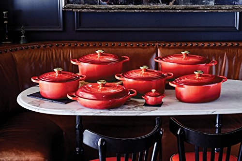 Le Creuset LS2501 2667SG Enameled Cast Iron Signature Round Dutch Oven, 5.5 Quart, Red