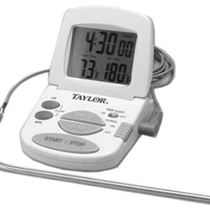 "Taylor Precision Products 1470N Oven Thermometer, With Meat Probe & Timer, Digital, Magnetic, 2 ""AAA"""