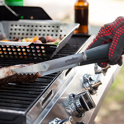 Grillaholics Grill Set 4 Piece BBQ Tools Heavy Duty Stainless Steel Barbecue Grilling Utensils Premium Grilling Accessories For Barbecue Spatula, Tongs, Fork, And Basting Brush