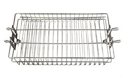OneGrill Stainless Steel Universal Rotisserie Flat Basket (Fits 5/16″ Square, 3/8″ Square, & 1/2″ Hexagon Spit Rods)