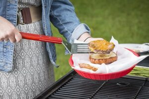 TableCraft BBQS BBQ Stainless Steel Long Handled Turner With Wood Handle, 19 Inch, Silver