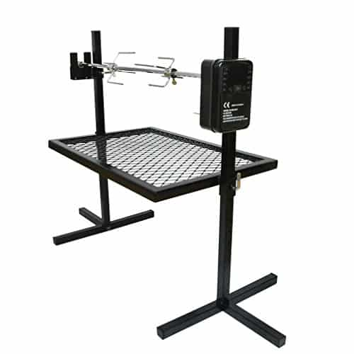 Onlyfire Heavy Duty Adjustable Outdoor Camping Rotisserie Grill System And Spit Kit With Portable DC 3V Motor And 29 Inch Hexagon Spit Rod