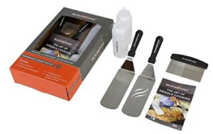 Blackstone 5 Piece Professional Grade Grill Griddle And BBQ Tool Kit With FREE GIFT 2 Spatulas, 1 Chopper Scrapper, 2 Bottles For Condiments Or Water Or Oil And A Free Cookbook Great For Griddle, Grill And Flat Top Cooking In The Backyard, Camping, Tailgating And Everywhere.