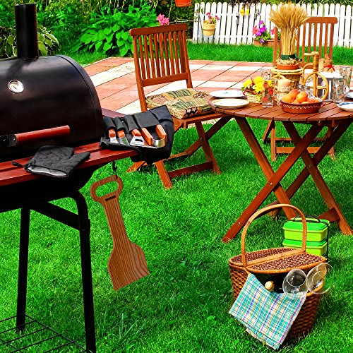 Tibres Wood Grill Scraper Safe BBQ Cleaner With Wooden Handle On All Types Of Grills Removes Burnt On Residue And Gets Grill Clean
