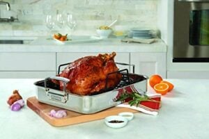 Viking 3 Ply Stainless Steel Roasting Pan With Non Stick Rack, 16 Inch By 13 Inch