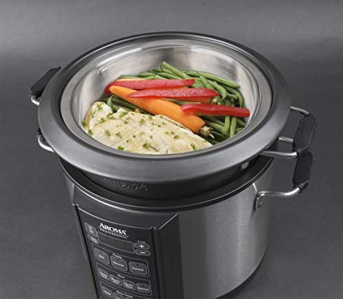 Aroma Professional Slow Cooker, 6 Quart, Silver (AMC 300SG)