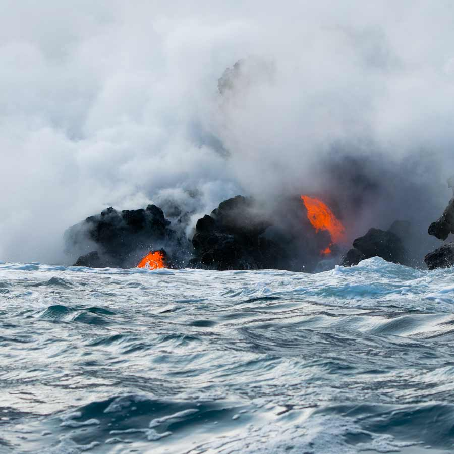 Lava pours into the ocean
