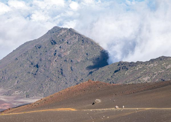 Clouds and hikers at Haleakala