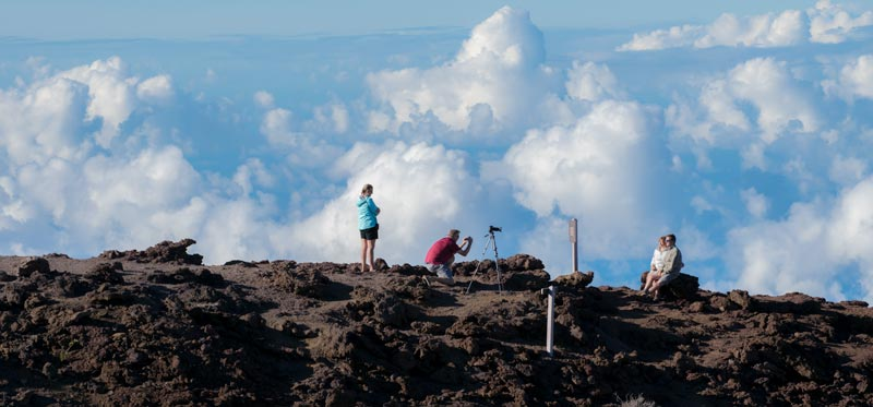 Travelers on top of Haleakala