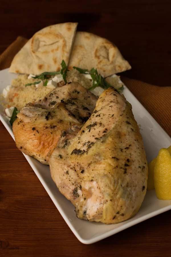 Serving Greek Chicken