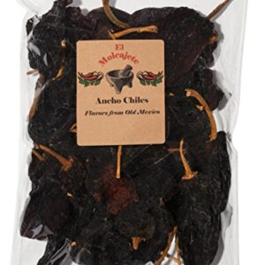 Dried Ancho Mexican Whole Dried Chile 8oz Resealable Bag El Molcajete Brand For Mexican Recipes, Tamales, Salsa, Chili, Meats, Soups, Stews & BBQ