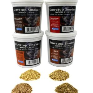 Oak, Cherry, Hickory, And Alder Wood Smoking Chips Wood Smoker Chips Value Pack Set Of 4 Resealable Pints