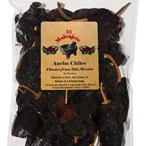 Dried Ancho Chiles El Molcajete Brand 8 Oz Resealable Bag Mexican Recipes Chillies Tamales Salsa Chili Meats Soups Mole Stews BBQ 0