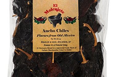 Dried Ancho Chiles Peppers El Molcajete Brand 8 oz Resealable Bag – Mexican Recipes, Chilis, Tamales, Salsa, Chili, Meats, Soups, Mole, Stews & BBQ