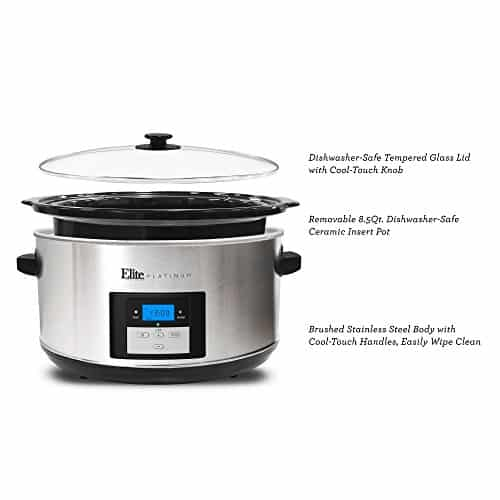 Elite Platinum MST 900D Maxi Matic 85 Quart Digital Programmable Slow Cooker With Timer Stainless Steel 0 0