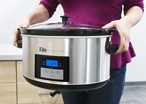 Elite Platinum MST 900D Maxi Matic 85 Quart Digital Programmable Slow Cooker With Timer Stainless Steel 0 1