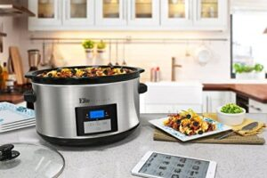 Elite Platinum MST 900D Maxi Matic 85 Quart Digital Programmable Slow Cooker With Timer Stainless Steel 0 2