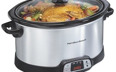 Hamilton Beach 8-Quart Programmable Slow Cooker With Digital Timer, Dishwasher-Safe Crock & Lid, Silver (33480)