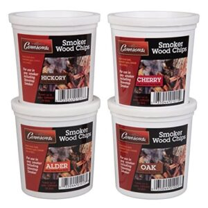 Oak Cherry Hickory And Alder Wood Smoking Chips Wood Smoker Chips Value Pack Set Of 4 Resealable Pints 0