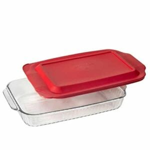Pyrex 3 Qt Sculpted Oblong Baking Dish W Red Lid 9 Inch X 13 Inch 0