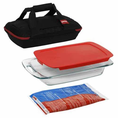 Pyrex Portables 4 Piece Glass Bakeware And Food Storage Set 0