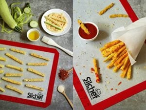 Silicone 3 Piece Non Stick Baking Mats With Measurements 2 Half Sheet Liners And 1 Quarter Sheet Mat Professional Quality Non Toxic And FDA Approved Red Yellow And Green 0 1