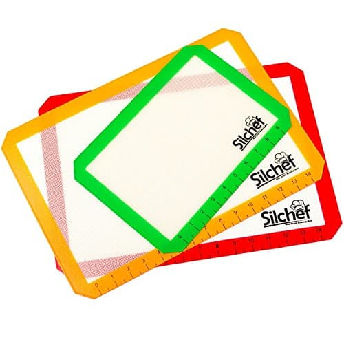 Silicone 3 Piece Non Stick Baking Mats With Measurements 2 Half Sheet Liners And 1 Quarter Sheet Mat Professional Quality Non Toxic And FDA Approved Red Yellow And Green 0