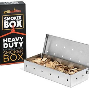 Grillaholics Smoker Box Top Meat Smokers Box In Barbecue Grilling Accessories Add Smokey BBQ Flavor On Gas Grill Or Charcoal Grills With This Stainless Steel Wood Chip Smoker Box 0