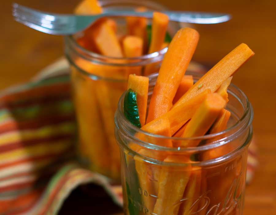 Quick Pickled Carrots Closeup