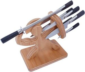 Spartan Knife Block Handmade Premium Birch Holds Your 6 Knives Solid Heavy Magnetic Steel Holder 0 2