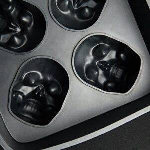 3D Skull Flexible Silicone Ice Cube Mold Tray Makes Four Giant Skulls Round Ice Cube Maker Black Pack Of 1 By DineAsia 0 2