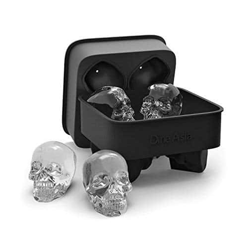 3D Skull Flexible Silicone Ice Cube Mold Tray Makes Four Giant Skulls Round Ice Cube Maker Black Pack Of 1 By DineAsia 0