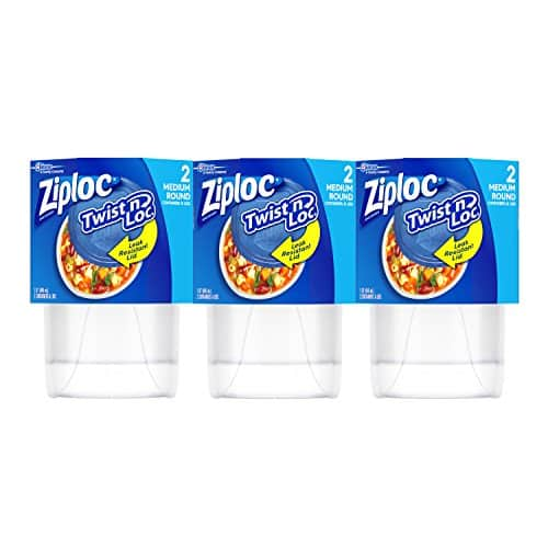 Ziploc Twist N Loc Storage Containers For Food Travel And Organization Dishwasher Safe Medium Round 2 Count Pack Of 3 6 Total Containers 0