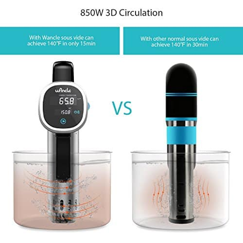Sous Vide Cooker Wancle Thermal Immersion Circulator With Recipe E Cookbook Accurate Temperature Digital Timer Ultra Quiet 850 Watts 120V Stainless SteelBlack 0 0