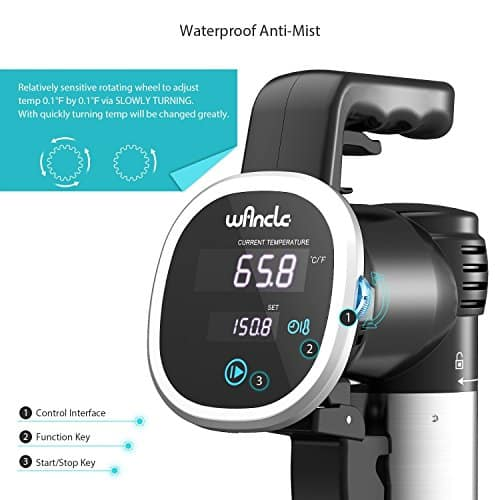 Sous Vide Cooker Wancle Thermal Immersion Circulator With Recipe E Cookbook Accurate Temperature Digital Timer Ultra Quiet 850 Watts 120V Stainless SteelBlack 0 2