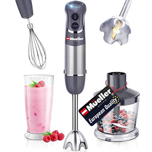 Mueller Austria Hand Blender Smart Stick 800W 12 Speed And Turbo Mode 3 In 1 Titanium Steel Blades Comfygrip Handle With Whisk ChopperGrinder Bowl And BeakerMeasuring Cup 0