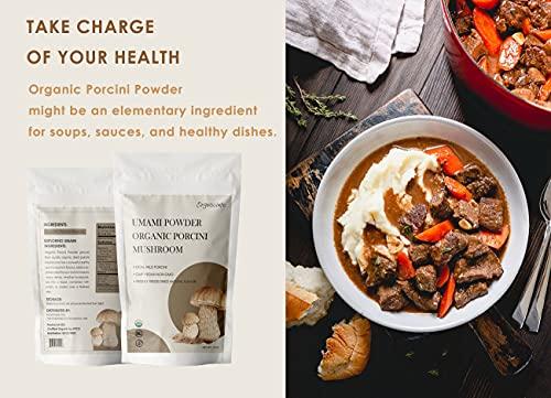Orgnisulmte Organic Dried Porcini Mushrooms Powder 3 OzWild Grown Premium Quality Umami PowderHand PickedAll Natural Porcini Powder 3Oz85g 0 3