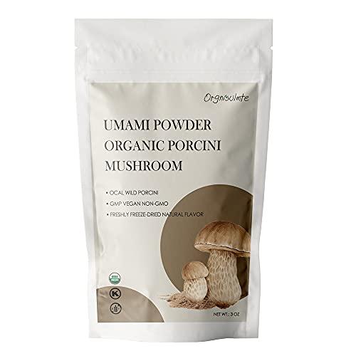 Orgnisulmte Organic Dried Porcini Mushrooms Powder 3 OzWild Grown Premium Quality Umami PowderHand PickedAll Natural Porcini Powder 3Oz85g 0