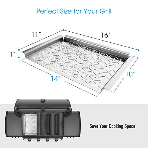 Unicook Grill Topper Vegetable Grill Basket Warp Free Stainless Steel Grill Pan For Grilling Veggie Seafood Meat And Kabob Heavy Duty BBQ Tray Accessories Rectangular 16x11 Inch 0 2