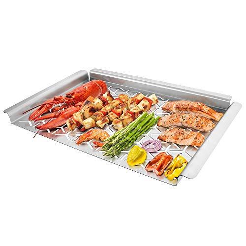 Unicook Grill Topper Vegetable Grill Basket Warp Free Stainless Steel Grill Pan For Grilling Veggie Seafood Meat And Kabob Heavy Duty BBQ Tray Accessories Rectangular 16x11 Inch 0